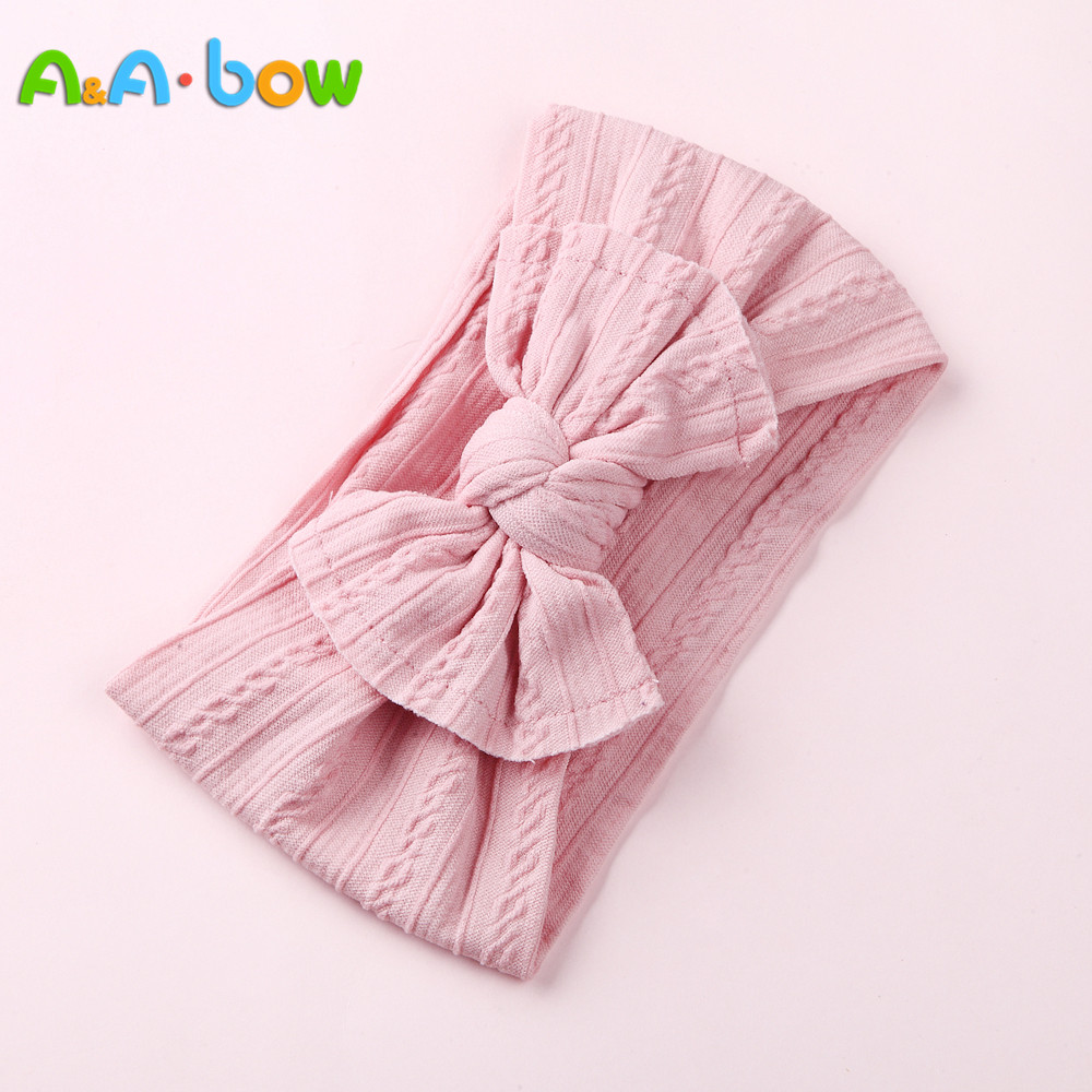 1PCS New Braid Nylon Bow Headbands,Cable Knit Solid Wide Nylon Headbands Turban, Baby Girls Head Wrap Hair Accessories 27 colors