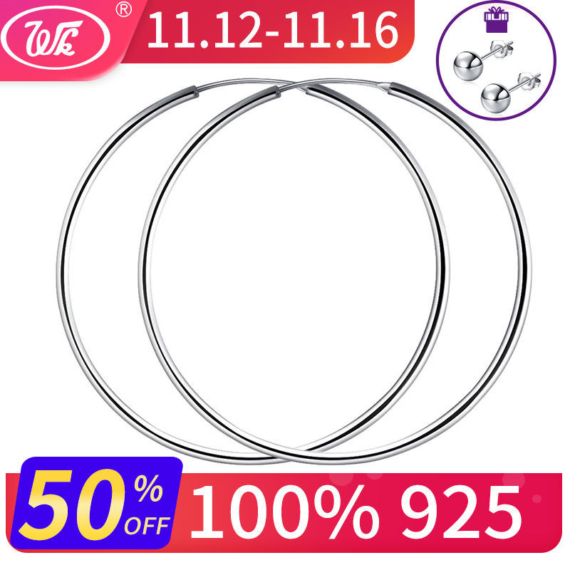 WK Women Silver Hoop Earrings Large Big Round Circle 925 Silver Hoops Creole Jewelry 25MM 40MM 50MM 55MM 60MM Dropshipping 2018 personality women creole earrings fashion jewelry silver small circle hoop earing set of 9 pairs bijoux statement hoop earrings