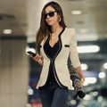 2016 New Fashion Winter Women Slim Blazer Coat Casual Jackets Long Sleeve V-Neck Black White One Button Suit OL Outerwear