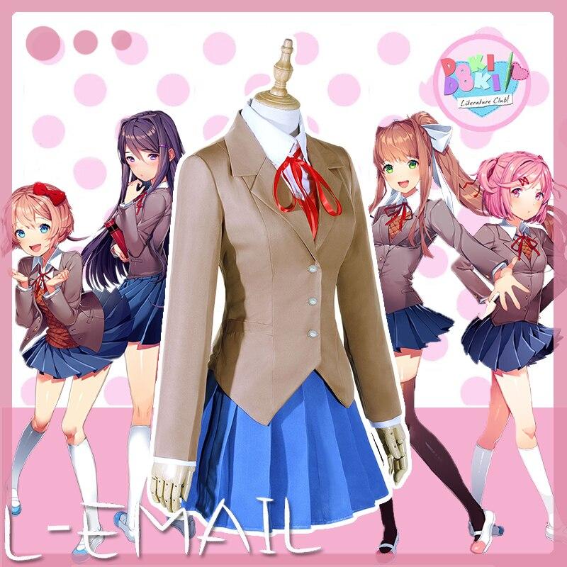 Women DDLC Doki Literature Club Monika Cosplay Costume School Uniform Halloween