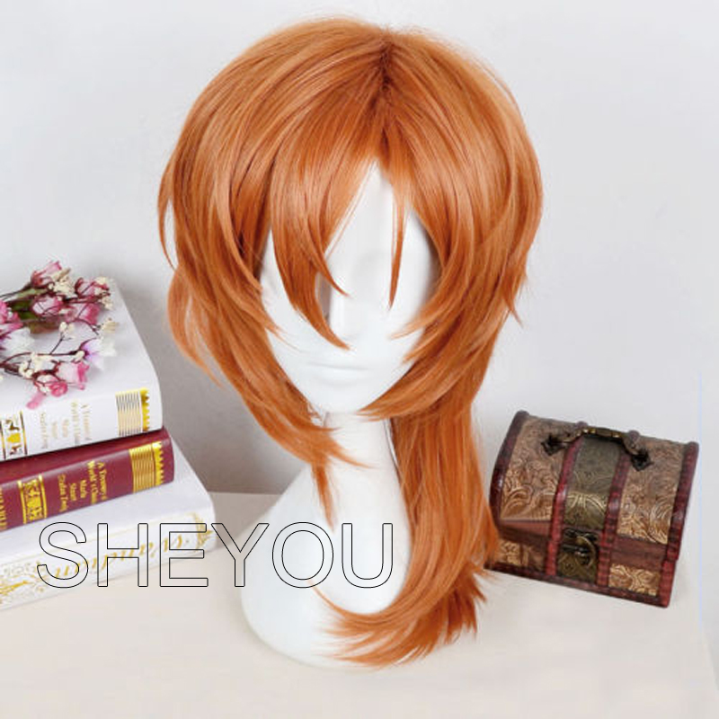 Anime Bungo Stray Dogs Chuya Nakahara Chuuya Wigs Heat Resistant Synthetic Hair Halloween Party Cosplay Costume Wig