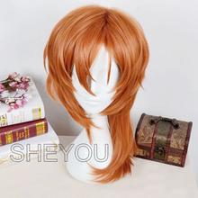 Bungo Stray Dogs Chuya Nakahara Chuuya Wigs Heat Resistant Synthetic Hair Halloween Party Cosplay Costume Wig + Wig CAP
