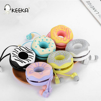 10pcs Lot Cute Doughnut Macaron Earphones With Microphone Colorful Sweet Donut Pattern Earphone Earbud For Kids