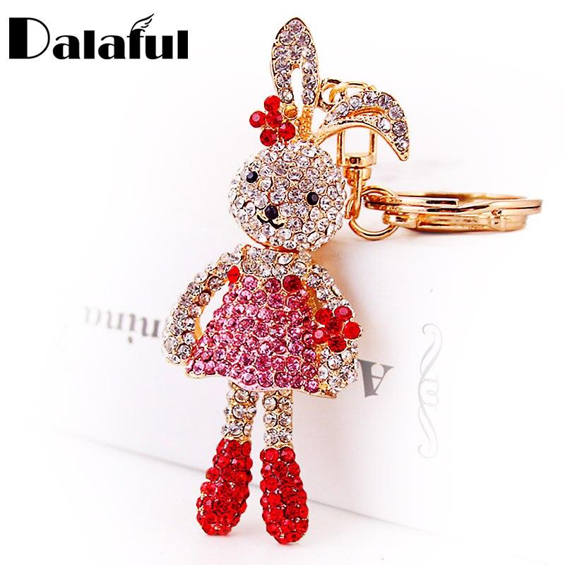 Dalaful Crystal Long Ear Rabbit Flower Key Chains Holder For Car Women Keychains Keyrings Purse Bag Pendant Llaveros K254