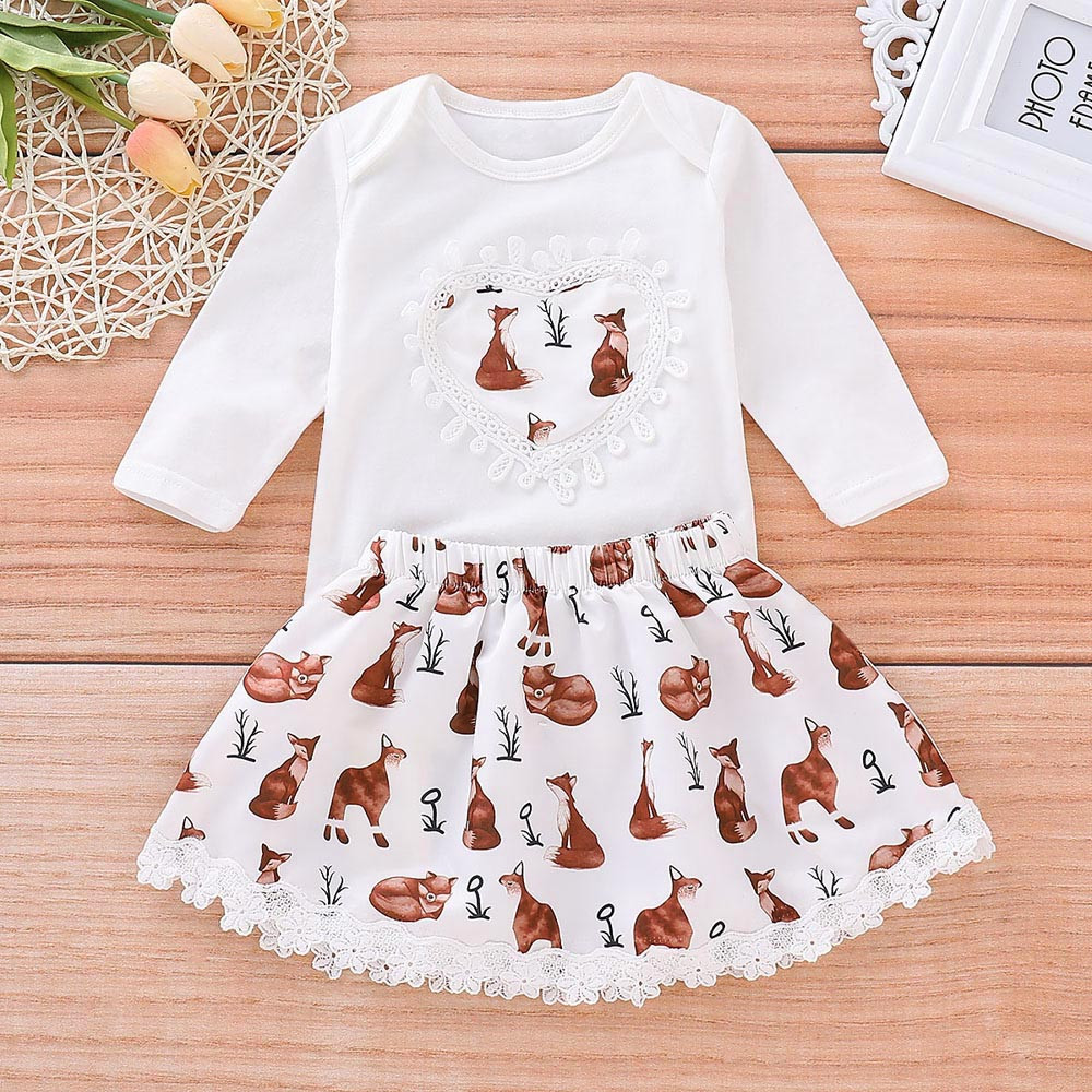 New Infant Toddler Baby Girls Suit Cartoon Animals Lace Romper Jumpsuit Skirt Outfits Set Fashion Baby Suit baby boy clothes