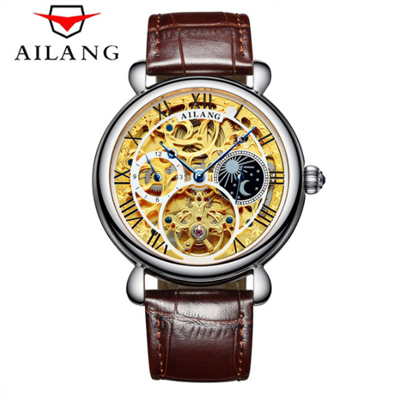 Business Tourbillon mens watches first-brand luxury waterproof knock-down strap watch men automatic skeleton mechanical watch mechanical watch men 2018 luxury brand leather watches 50m waterproof business skeleton wristwatch mens automatic watch