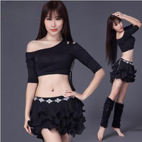 New Women Performance Belly Dance Clothes Comfortable Modal Half Sleeves Top And Short Skirt 2pcs Lady