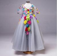 Цветок Детские платье принцессы для девочек платье для девочек ES летняя детская Костюмы Повседневное школы Дети платье для девочек для Обу