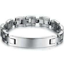 Man Chain Link Hologram Bracelets Classical Stainless Steel with Magnetic Stone font b Health b font