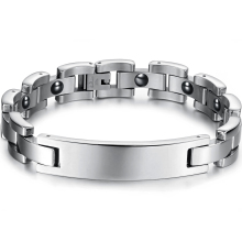 Man Chain & Link Hologram Bracelets Classical Stainless Steel with Magnetic Stone Health Care Men Jewelry GS3019