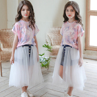 2019 Girls Summer Outfits Toddler Girl Clothes Set Print Top Tee Shirt + Skirt Sets Big Girls Clothes Baby Girl Tracksuit 12 14