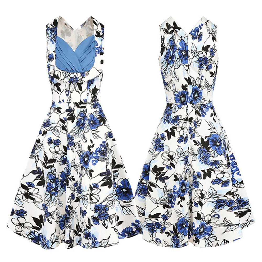1516e38ea2 Fashion Women s Summer Dress Tube Top Contrast Color Hepburn Style big  swing Printed Flowers and Butterflies Red Flower Dress-in Dresses from  Women s ...