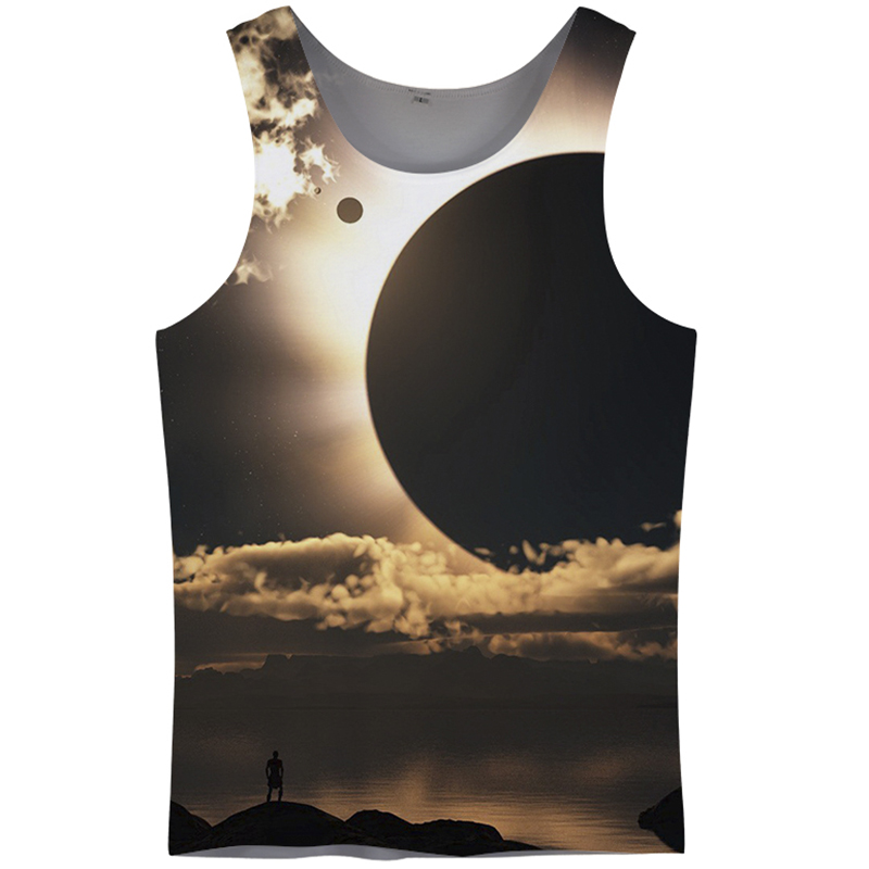 Cloudstyle 3D Tank Tops Men Clothes 2018 Eclipse Sleeveless Singlet Hipster Fitness Clothing Plus Size 5XL Summer Hot Simple