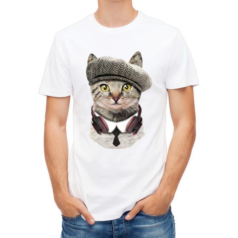3D Cute DJ&Angel Cat T-shirts Women Summer Tops Tees Print Animal T shirt Men o-neck short sleeve Fashion Tshirts Plus Size
