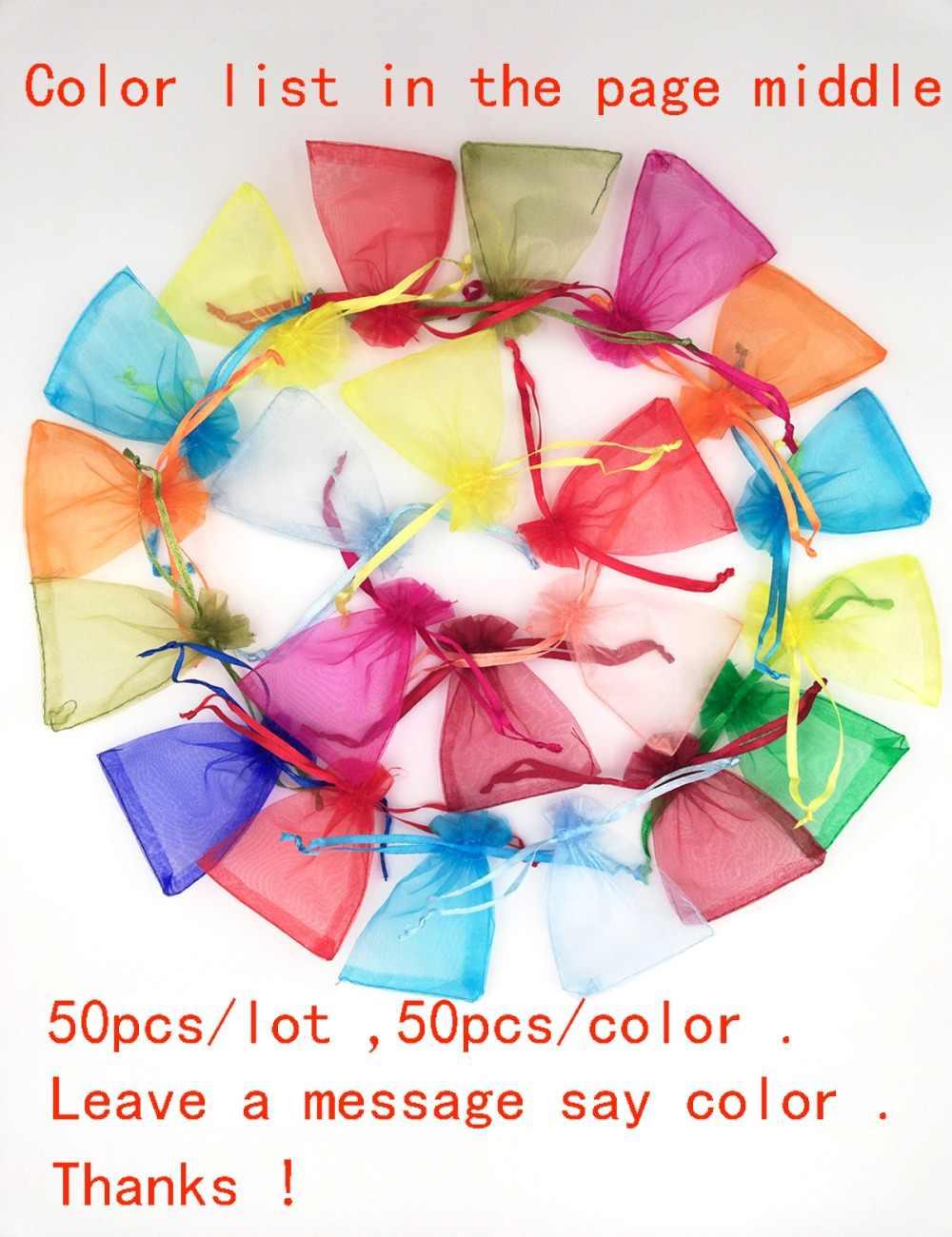 50 cái/lốc Nhỏ & Lớn Organza Túi Đám Cưới Túi Túi Đồ Trang Sức Bao Bì Túi Bữa Tiệc Sinh Nhật Túi Quà Tặng Giáng Sinh 11 Kích Thước 24 màu sắc