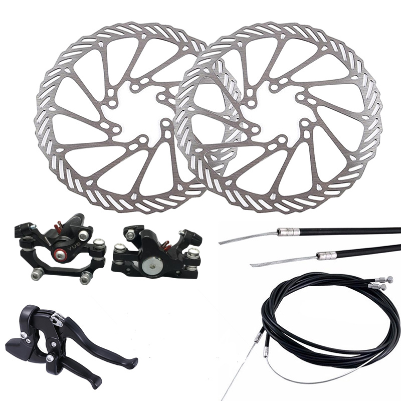 Mountain Bike Bicycle Mechanical Disc Brake Front & Rear Set with 160mm Rotors aluminum mountain road bicycle disc brakes w rotors black front rear