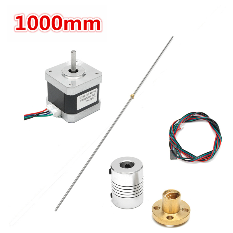 Stainless Steel Lead Screw Coupling Shaft T8 1000mm + Brass Nut + Motor Power Transmission Parts mtgather t8 1000mm stainless steel lead screw coupling shaft brass nut motor 3d printer accessories