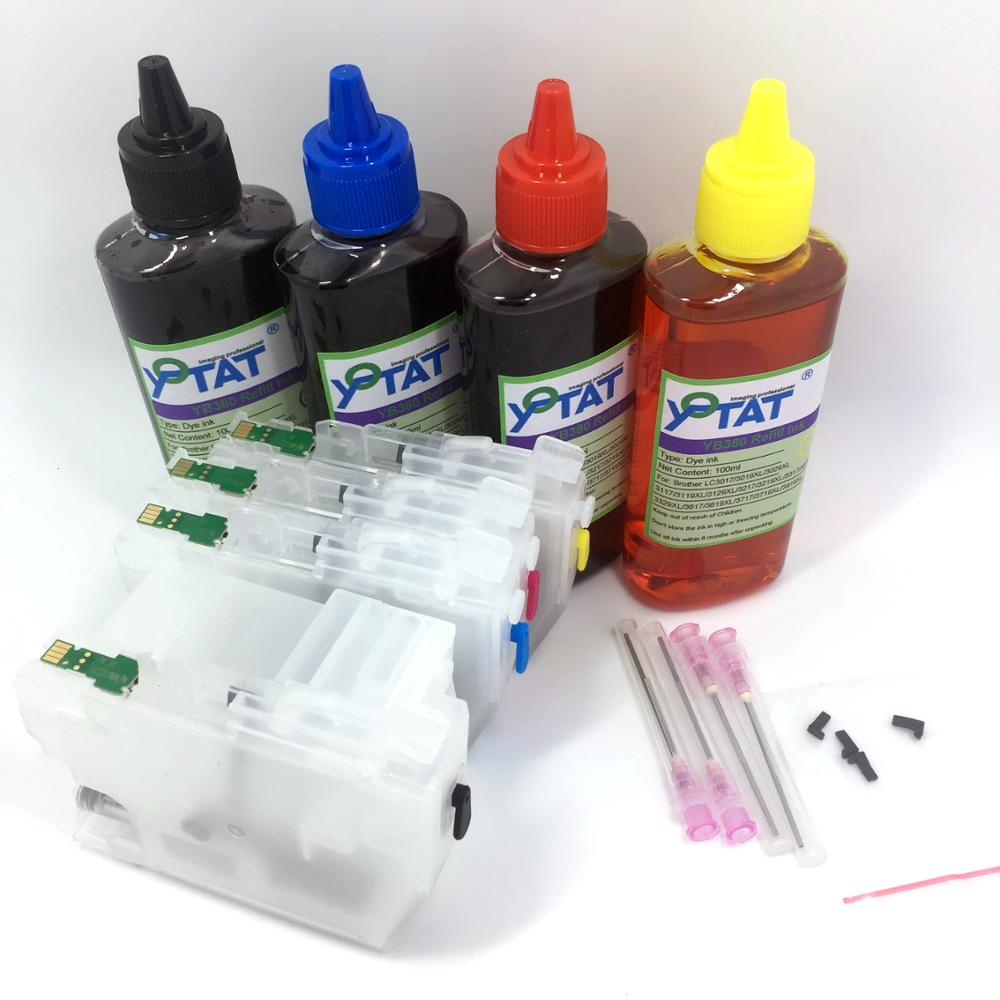 YOTAT 4*100ml Dye ink + Refillable Ink Cartridge LC3219 XL LC3217 for Brother MFC-J6935DW MFC-J6930DW MFC-J5930DW MFC-J5970DW long refill ink cartridge lc3219 xl lc3219xl lc3217 for brother mfc j5330dw j5335dw j5730dw j5930dw j6530dw j6930dw j6935dw