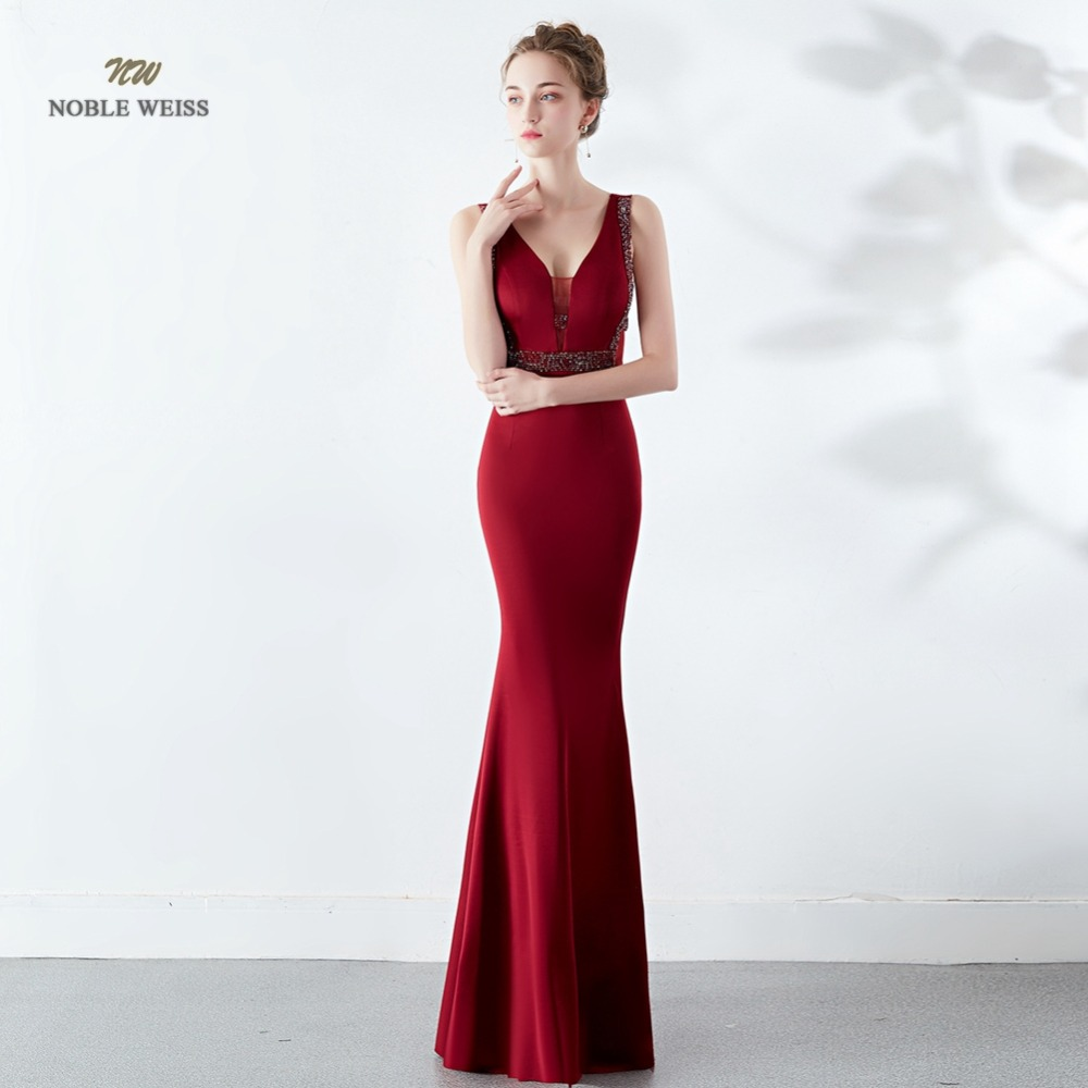Elegant Mermaid Long   Evening     Dress   Dark Red Beading Sexy In Stock V-neck Party   Dresses   Prom Gown