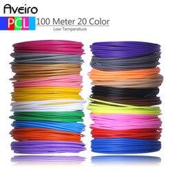 Baru 50 M 10 Warna 100 Meter 20 Warna 3D Pena Kawat Benang untuk Suhu Rendah Filament 3 D Printer pena Isi Ulang PCL Bahan