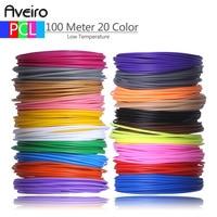Nieuwe 50 M 10 Kleur 100 Meter 20 Kleur 3D Pen Draad Threads voor Lage Temperatuur Filament 3 D Printer pen Refill PCL Materialen-in 3D Druk materiaal van Computer & Kantoor op