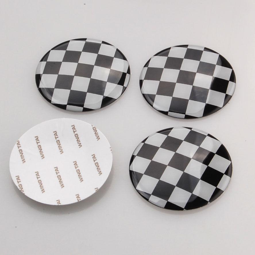BBQ@FUKA 4x 52mm Checkered Pattern Flag Car Wheel Center Hub Cap Covers Decal Emblem Styling Sticker Fit For Mini Cooper