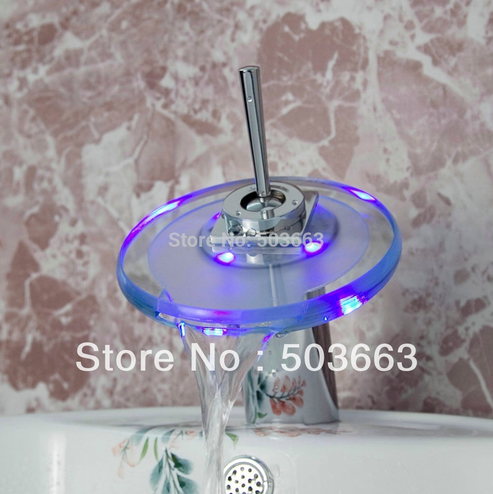 Round Hot/Cold Glass Waterfall LED Chrome Battery Deck Mount Single Handle Mixer Basin Sink Vessel  Bathroom Faucet Tap MF-246 merrto men waterproof leather hiking shoes outdoor trekking boots trail camping climbing high quality outventure hunting shoes