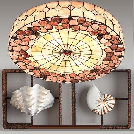 Mediterranean Rural E27 30/40/50cm Round Shell HandmadeTiffany Ceiling Lamps  For Living Room Light FixtureMediterranean Rural E27 30/40/50cm Round Shell HandmadeTiffany Ceiling Lamps  For Living Room Light Fixture