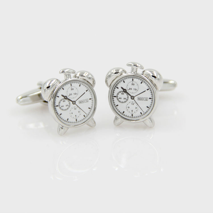 Brass cufflink exquisite  alarm clock cufflink men's Cufflinks Cuff nails,Free Shipping