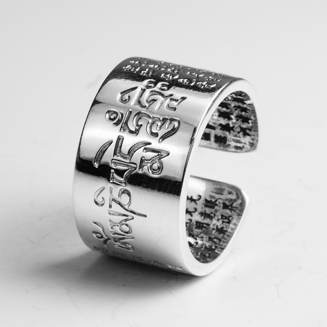 Solid 999 Sterling Silver Sanskrit Buddhist Mantra Rings