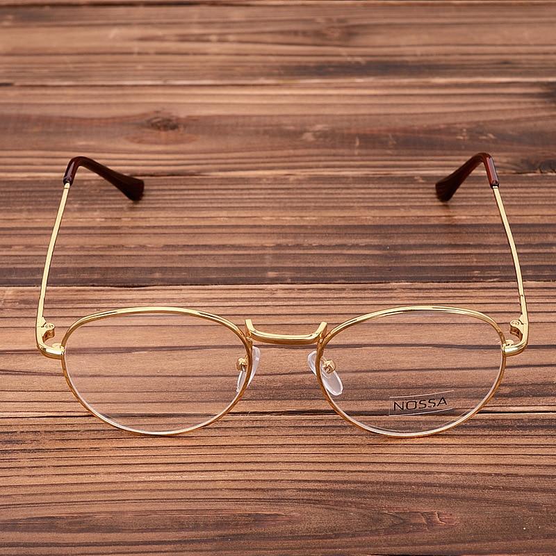 NOSSA Hot Sale Gold Vintage Glasses Frame Women Men Retro Round Metal Eyeglasses Frame Bronze Myopia Classical Eyewear Goggles