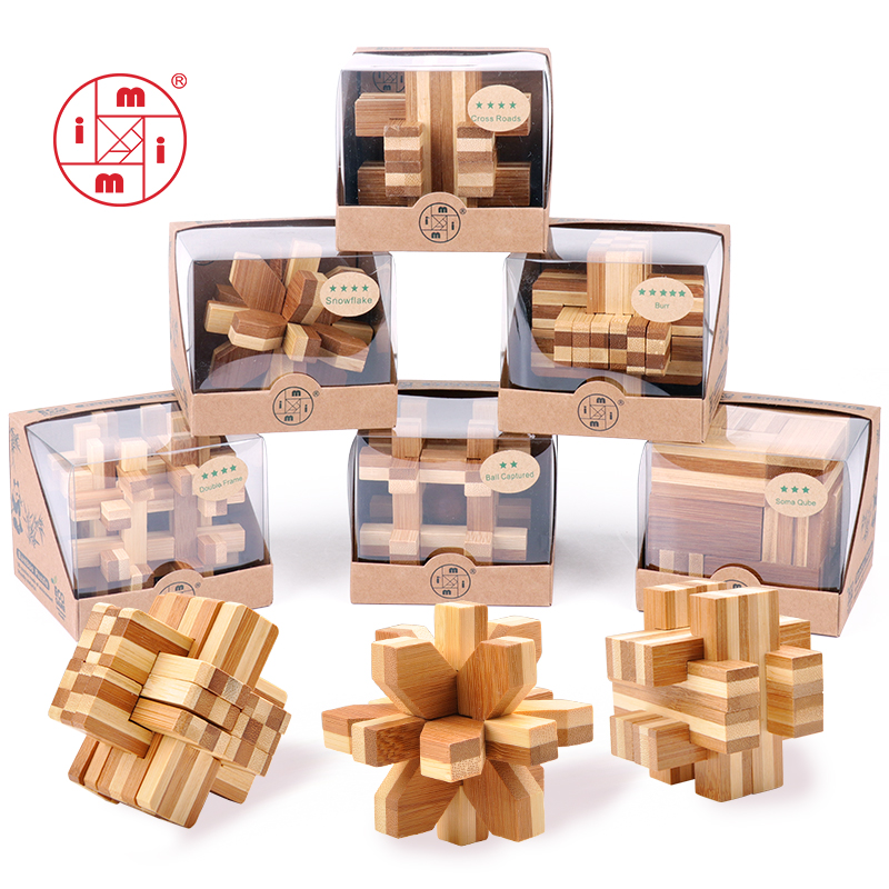 MITOYS bamboo puzzle 3D handmade vintage Ming lock Luban lock wooden toys adults puzzle children adult Christmas gift