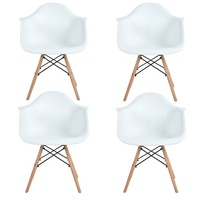 EGGREE 4PCS Modern Design Dining Armchair Plastic And Wood Dining Chair Hot Sale Modern Dining Chair