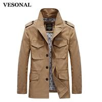 VESONAL Autumn 100 Cotton Fashion Pockets Stand Collar Male Casual Jacket Men Windbreaker Jackets Coat Plus