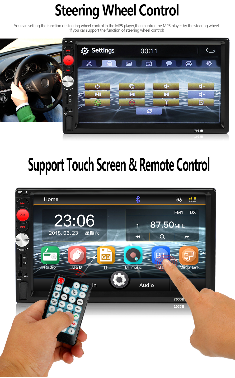 2 Din 7033B MP5 Car audio Bluetooth Car Multimedia Player Autoradio Audio  Stereo FM USB TF Support Rear View Camera mirror link
