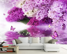 Custom 3D Wallpaper Purple Flowers Reflection Butterfly Background Wall wall papers home decor papel de parede beibehang beibehang custom wall papers home decor papel de parede blue floral butterfly living room sofa background wall 3d wallpaper