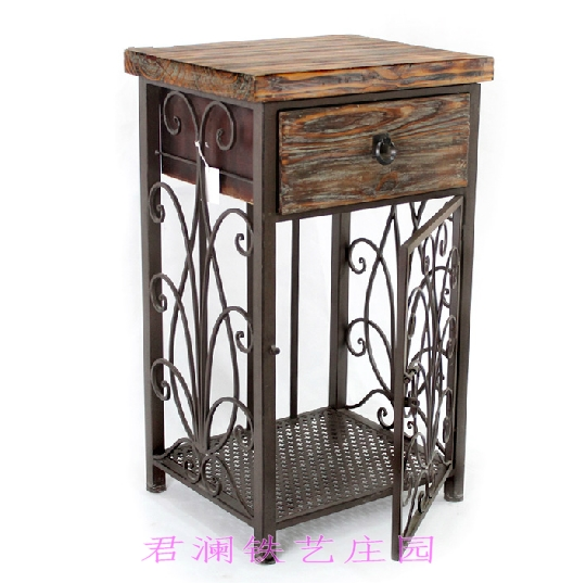 American Retro Furniture Wrought Iron Wood Corner A Few Nightstands With Drawers Lockers Sofa Table Phone In Garden Sets From On