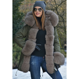 Image 2 - Tatyanaผู้หญิงจริงขนสัตว์Parka Coat Foxขนสัตว์และCuffผู้หญิงParkasหนาฤดูหนาวWarm Natural Fur JacketยาวFoxขนสัตว์