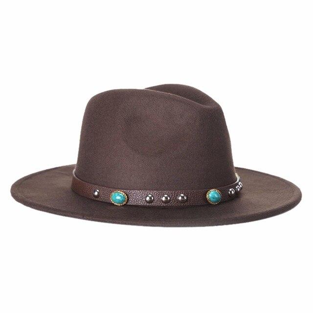 Moda hombres mujeres Casual lana vaquero sombreros de ala Caps estilo  coreano Unisex ala ancha Sombrero bdabfb9bb5b