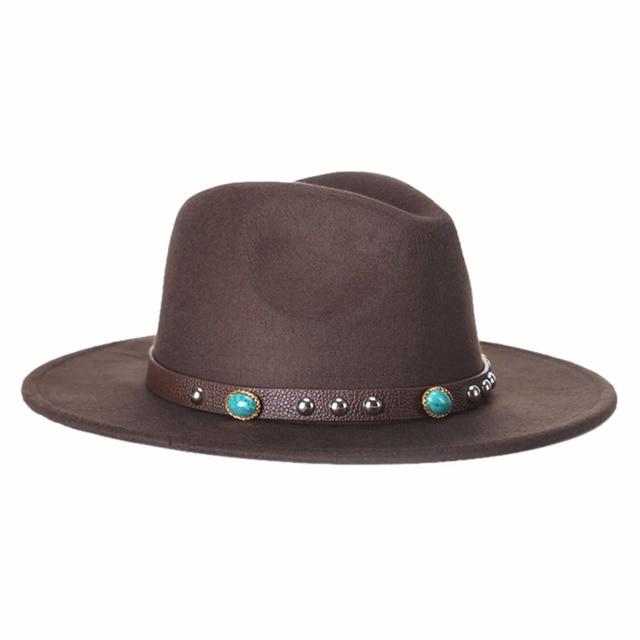 56ee73b9 Trendy Men Women Casual Woolen Cowboy Hats Fedora Caps Korean Style Unisex  Wide Brim Panama Hat Summer Beach Sunhat