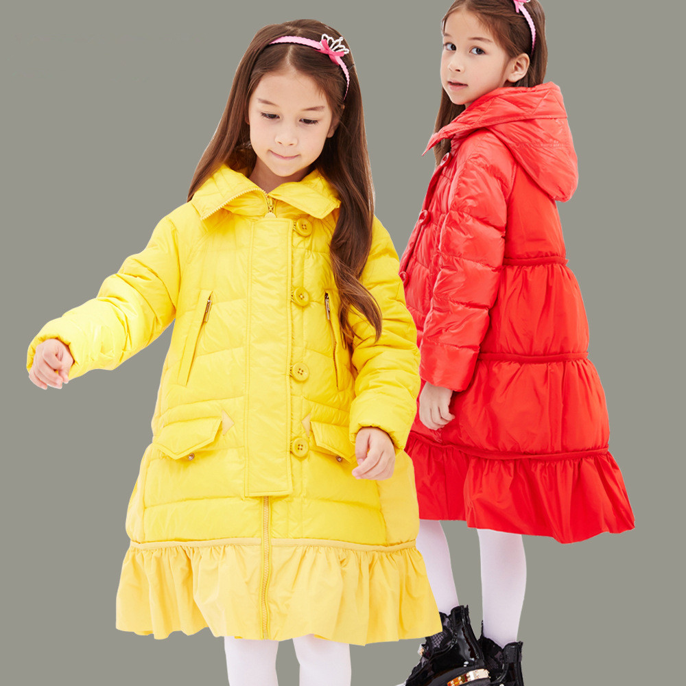 High quality Children Winter Outerwear 2017 Baby Girls Down Coats Jacket Long Style Warm Thickening Kids Outdoor Snow proof Coat high quality children down coats 2017