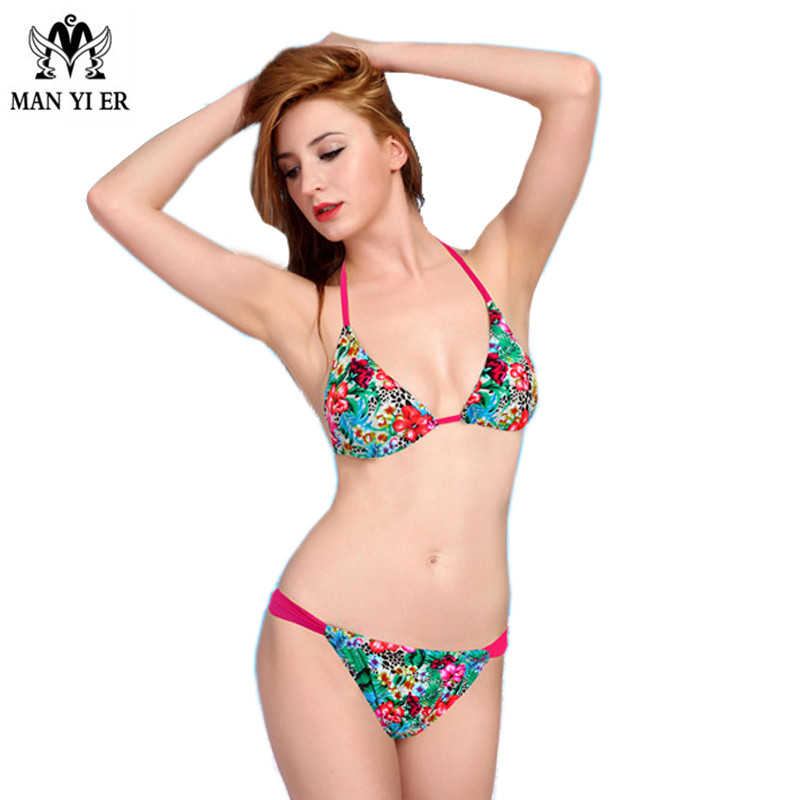 MANYIER Women two pieces Bikini Swimwear Female Print Floral Sexy Biquini Vacation Necessary Halter Beachwear lacing Swimsuit