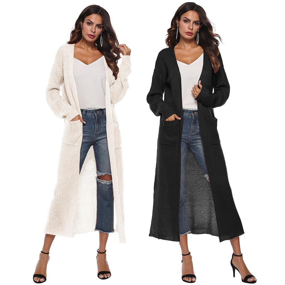 d58b975ebf Detail Feedback Questions about Women Plain Open Front Drape Maxi Long  Sleeve Split Cardigan Sweater with Pocket on Aliexpress.com