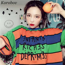 40c7c79f32 Korobov Summer Harajuku Striped Tee Shirt Dress Contrast Color Rainbow T  Shirt For Women Loose BF