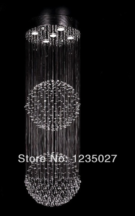 Double Ball Shape Modern Crystal Chandelier Ceiling Lamp Fixture Global Crystal Pendant Light for Stairs SY3051