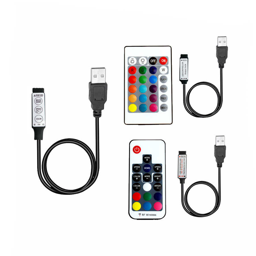 USB RGB LED bande 5 12 24 V RGBw IR RF télécommande 5V 12V 24 V bande LED USB RGB lumière lampe télécommande sans fil