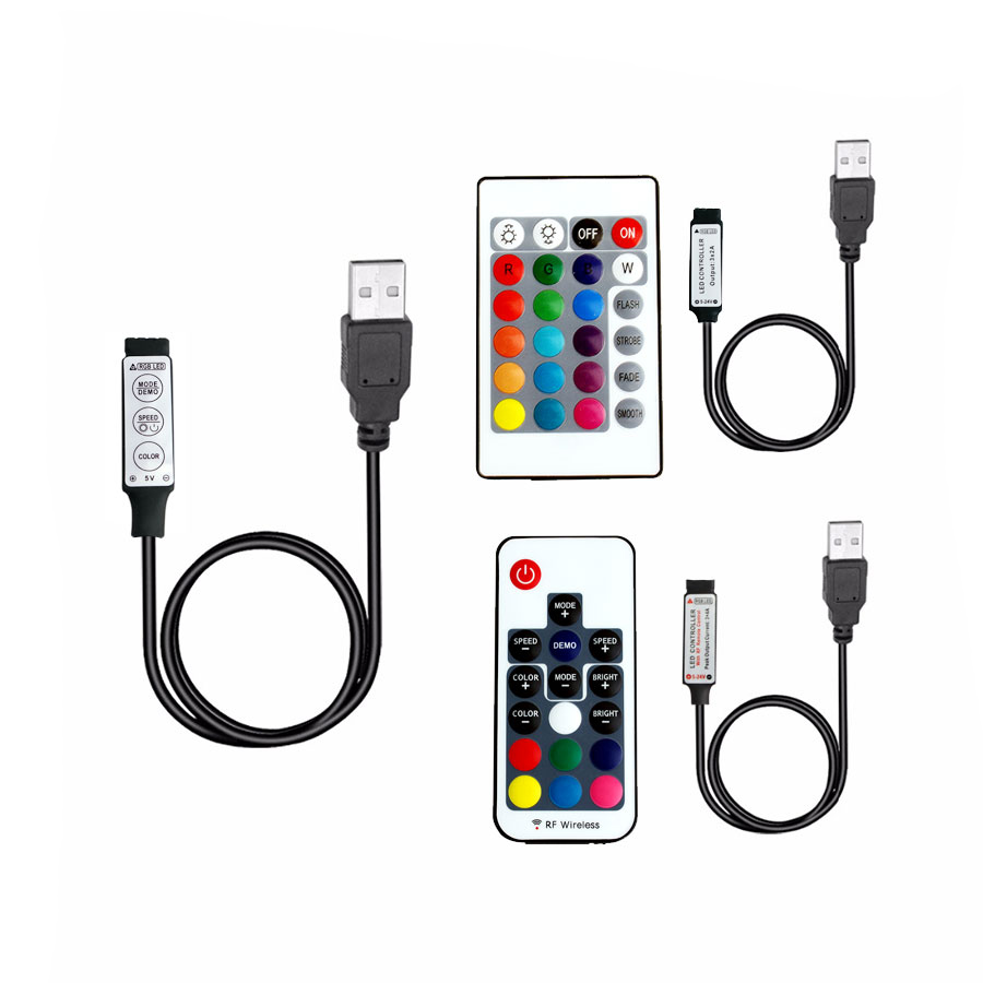 USB RGB Led Strip 5 12 24 V RGBw IR RF Remote Controller 5V 12V 24V USB LED Strip RGB light Lamp Remote Wireless Controller