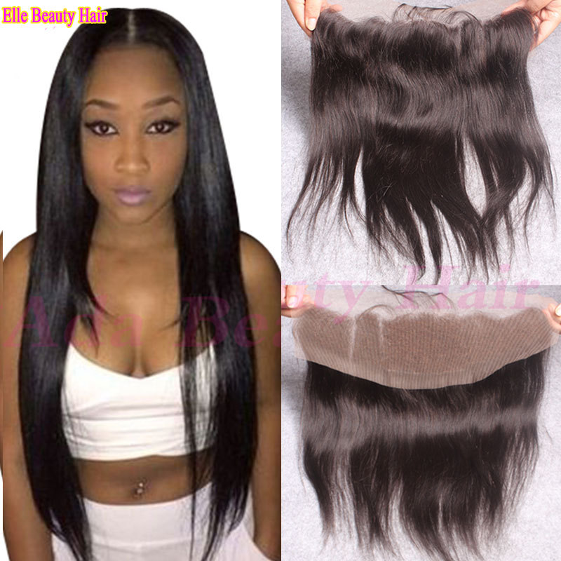 8A Brazilian Straight Lace Frontal Closure With Baby Hair 100% Human Hair  13x4 Lace Frontal Closure Brazilian straight closure f03ef9211