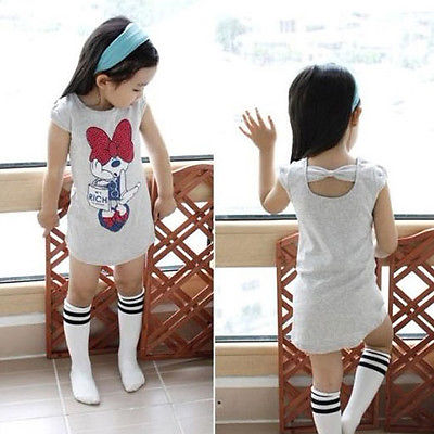 3 4 5 6 7 8 Years Kids Baby Girls Clothes Spring Summer Cute Cartoon Minnie Party Dress Bow Back Outwear Children Clothes