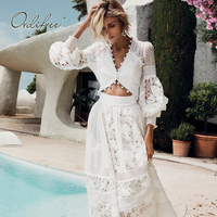 Ordifree 2019 Summer Luxury Women 2 Piece Set Long Maxi Skirt Party Dress Long Sleeve White Lace Sexy Crop Top and Skirt Sets